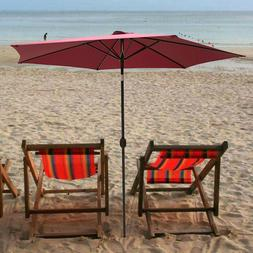 10 FT Patio Beach Umbrella Outdoor Market Sun Shade Tilt W/