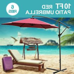 10FT Patio Umbrella Sun Shade Offset Outdoor Beach Yard Mark