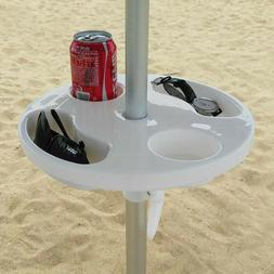 AMMSUN 12 or 17 Inch Round Plastic Beach Umbrella Table with