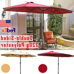 15' Large Offset Patio Umbrella Folding Outdoor Beach Double