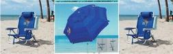 2 Tommy Bahama Backpack Cooler Beach Chairs &  7 ft Beach Um
