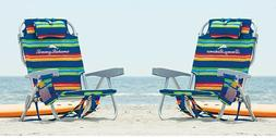 2 PACK | Tommy Bahama Back Pack Beach Folding Deck Chair Gre