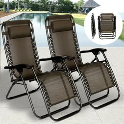 2 PCS Zero Gravity Folding Lounge Beach Chairs Outdoor Recli