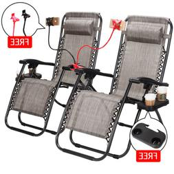 2 Pcs Zero Gravity Folding Lounge Beach Chairs With Drink+Ph