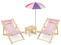Badger Basket Two Doll Beach Chair Set Table & Umbrella , Pi