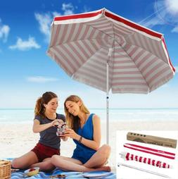 6.5' Beach Umbrella with Sand Anchor Auger Color White Red P