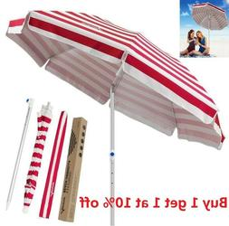 6.5 ft Deluxe Canopy Beach Umbrella UPF 150+ Ultra Cool Heav