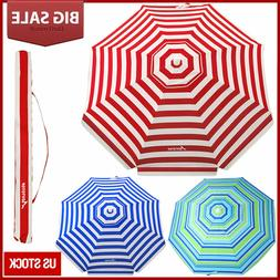 Striped Beach Umbrella UV Protection w/ Adjustable Tilt Tele