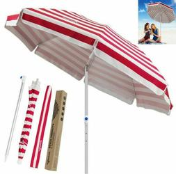 MOVTOTOP 6.5ft Beach Umbrella UV Protection Sand Anchor Umbr