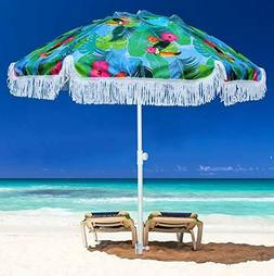 AMMSUN 6.5ft Outdoor Patio Beach Umbrella Sun Shelter with F