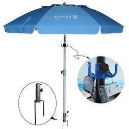 AMMSUN 6.5ft Patio Umbrella with tilt,UPF50+ with hook ,Remo