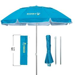 AMMSUN 6.5ft Two Folded Beach Umbrella for Sun and Outdoor w