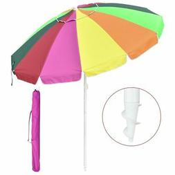 6/7/8 ft Rainbow Beach Umbrella Sunshade with Tilt Sand Anch