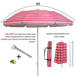 AMMSUN 6ft Two Folded Strip Patio Beach Umbrella for Sun Out