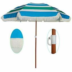 6ft Umbrellas Outdoor Patio Beach Sun Shelter With Fringe UV