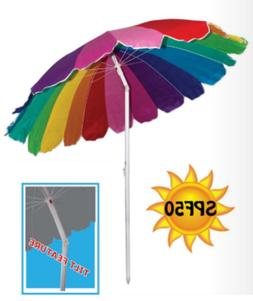 Copa 7.5 ft TNT Rainbow Beach Umbrella 20 Panels with Tilt F