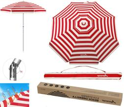 6.9 Feet Outdoor Sunshade Beach Umbrella w/ Sand Anchor Tilt