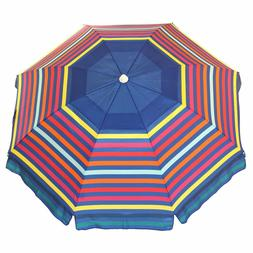 NAUTICA 7 FOOT VENTED BEACH UMBRELLA WITH SAND ANCHOR & STOR