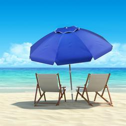 7 Ft Blue Tilt Beach Umbrella Portable Carry Case Sand Ancho