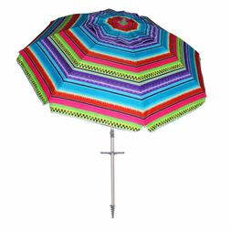 AMMSUN 7 ft Sand Anchor Beach Umbrella Adjustable Height wit