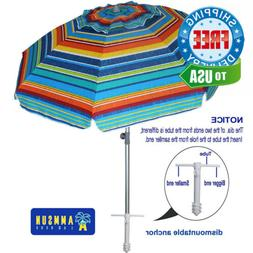AMMSUN 7ft Beach Umbrella With Sand Anchor Adjustable 7ft, M