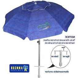 AMMSUN 7ft Beach Umbrella with Sand Anchor Sand Screw, Tilt,