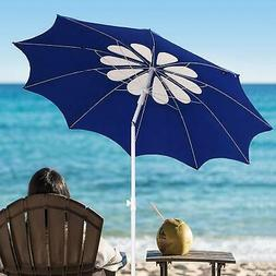 AMMSUN 7ft Beach Umbrella with Tilt Telescopic Pole and UPF
