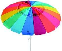 MAINSTAYS 8' BEACH UMBRELLA, MULTI