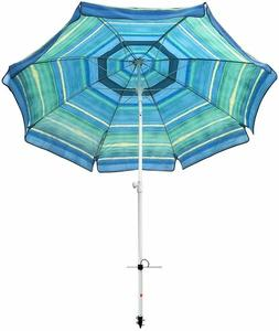 8 ft 16 Panel Reinforced Large Beach Umbrella Tilt Aluminum