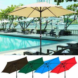 8' FT Outdoor Patio Umbrella Crank Tilt Aluminum Deck Sunsha