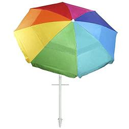 Ammsun 8 Panels 7 Foot Rainbow Sand Anchor Beach Umbrella Wi