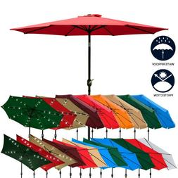 9 Ft Outdoor Patio Umbrella Sun Water Proof Common/LED Optio
