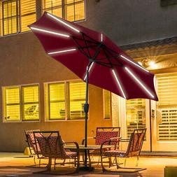 9 FT Patio Solar Umbrella LED Light Tilt Deck Waterproof Gar