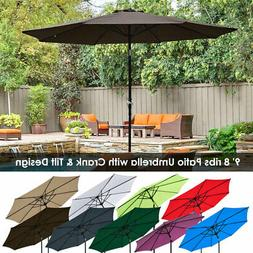 9ft 8 ribs outdoor patio umbrella crank
