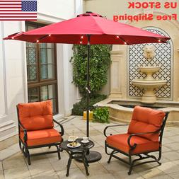 9FT Outdoor LED Patio Aluminum Umbrella Red Tile W/ Crack Be