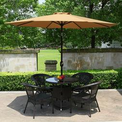 9FT Patio Umbrella Crank Tilt Market Waterproof Beach Yard S