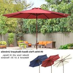 9ft Wooden Patio Umbrella 8 Ribs Garden Beach Pool Cafe Para