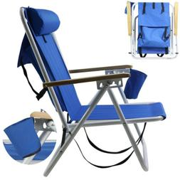 Backpack Fold Beach Chair wIth Adjustable Padded Headrest &