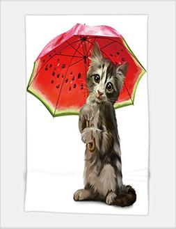 Minicoso Bath Towel kitty holds a red umbrella watercolor pa
