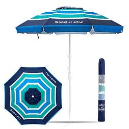 Life is Good Beach Umbrella with Sand Anchor, Towel Hook, Ti