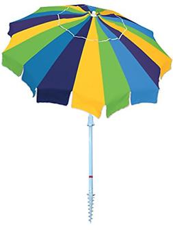 Rio Beach 7' Beach Umbrella with Integrated Sand Anchor, Mul