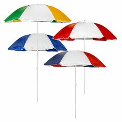 Beach Umbrella Large 6 Ft. Sun Shade  Patio + Portable Carry