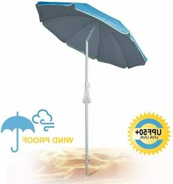 690GRAND 6FT Beach Umbrella with Sand Anchor UPF50+ Sunshade