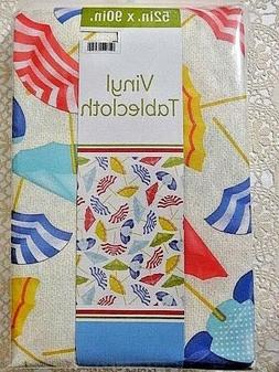 Beach Umbrella Vinyl Tablecloth 52 x 90 Peva Polyester Outdo