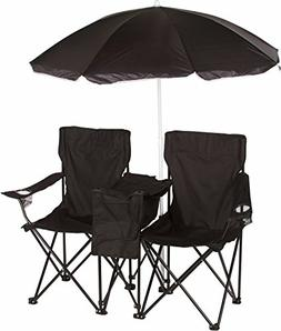 Trademark Innovations Black Double Folding Camp & Beach Chai
