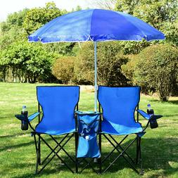 Chair Double Portable Picnic Table Folding Blue Camping W/Um