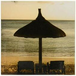 3dRose CST_70124_3 Mauritius, Beach Scene, Umbrella, Chairs,