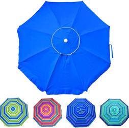 Deluxe 6.5 ft Beach Umbrella with Carry Bag, Steel Pole, Til