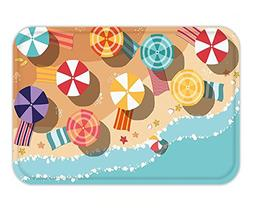 Minicoso Doormat Beach Summertime Seacoast with Colorful Umb
