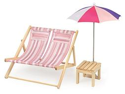 Badger Basket Double Doll Beach Chair with Table and Umbrell
